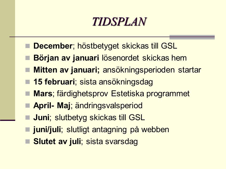 TIDSPLAN December; höstbetyget skickas till GSL