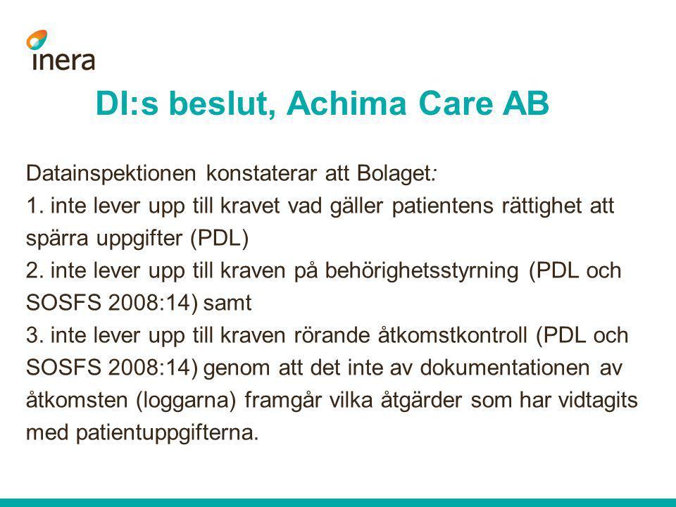 DI:s beslut, Achima Care AB