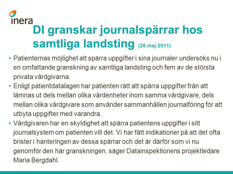 DI granskar journalspärrar hos samtliga landsting (26 maj 2011)