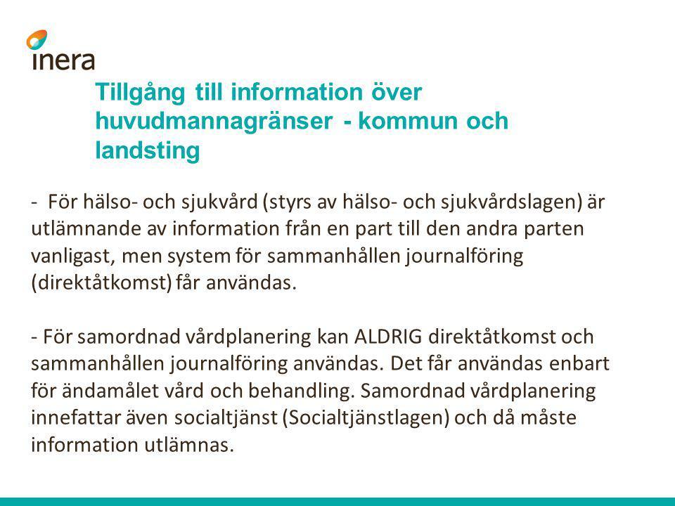 Tillgång till information över huvudmannagränser - kommun och landsting