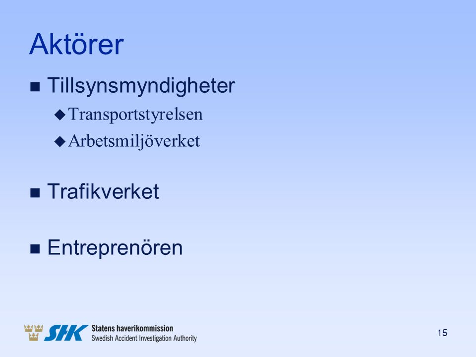 Aktörer Tillsynsmyndigheter Trafikverket Entreprenören
