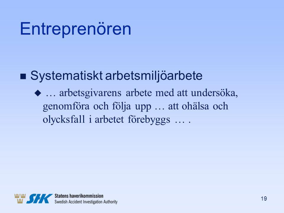 Entreprenören Systematiskt arbetsmiljöarbete