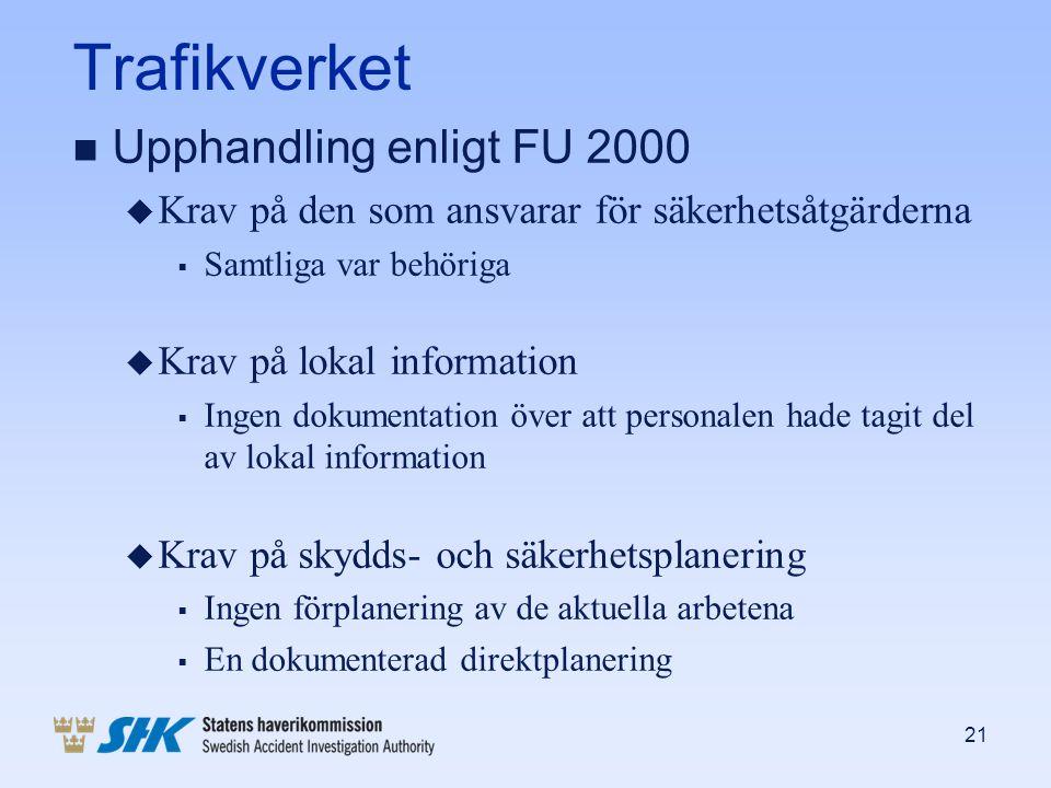 Trafikverket Upphandling enligt FU 2000