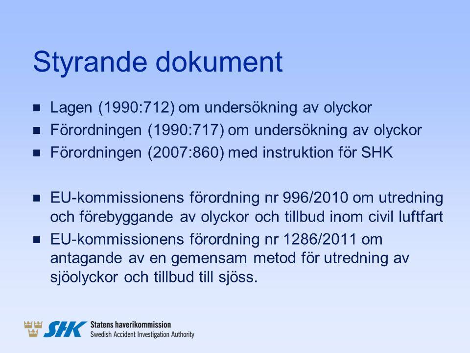 Styrande dokument Lagen (1990:712) om undersökning av olyckor