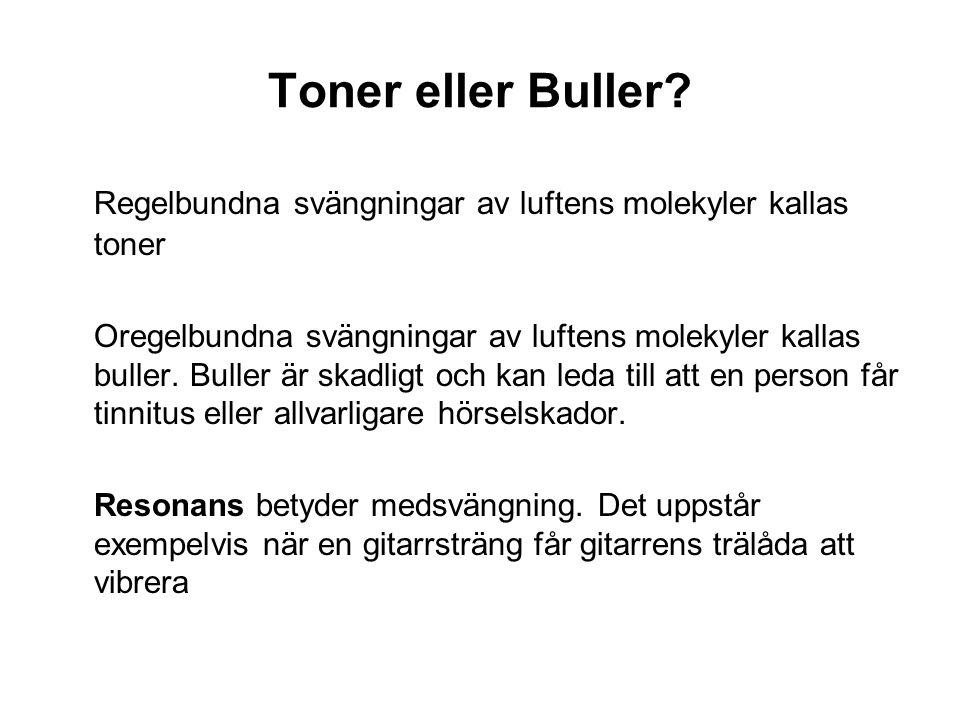 Toner eller Buller Regelbundna svängningar av luftens molekyler kallas toner.