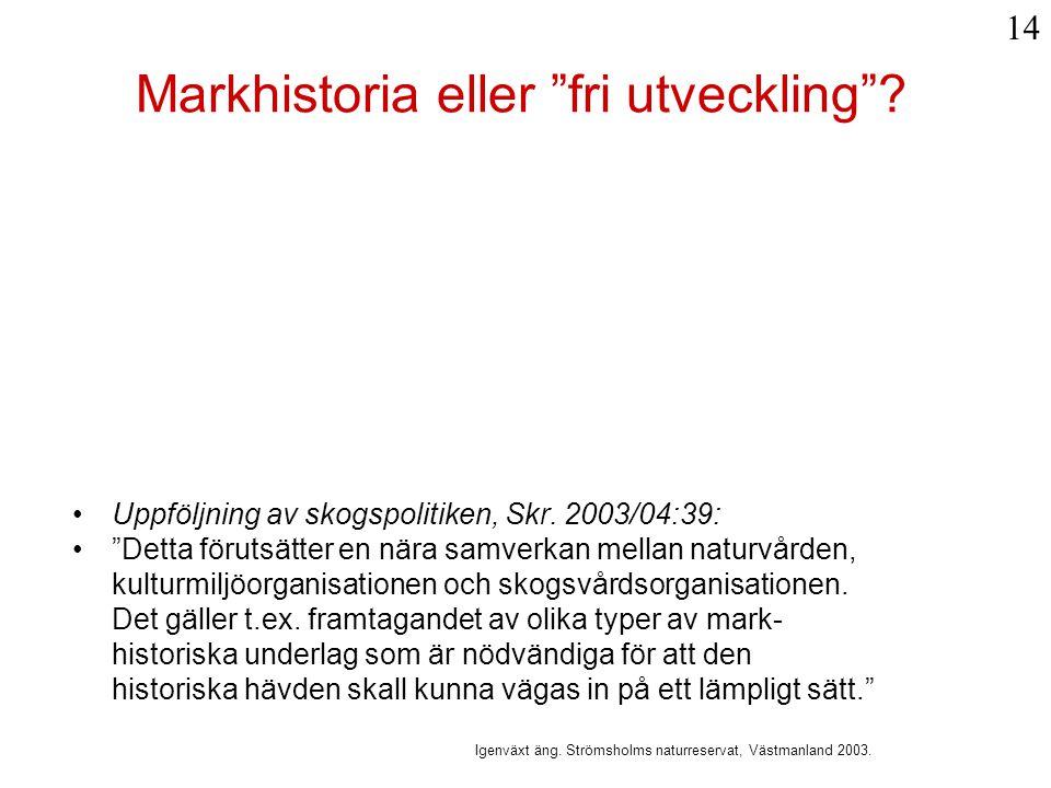 Markhistoria eller fri utveckling