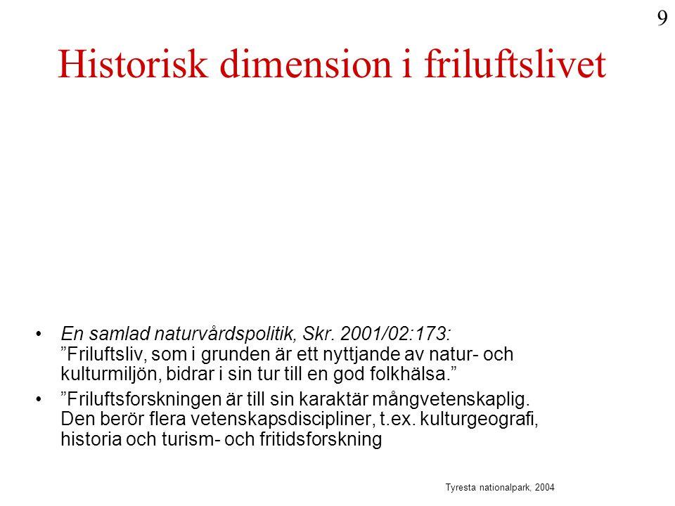 Historisk dimension i friluftslivet