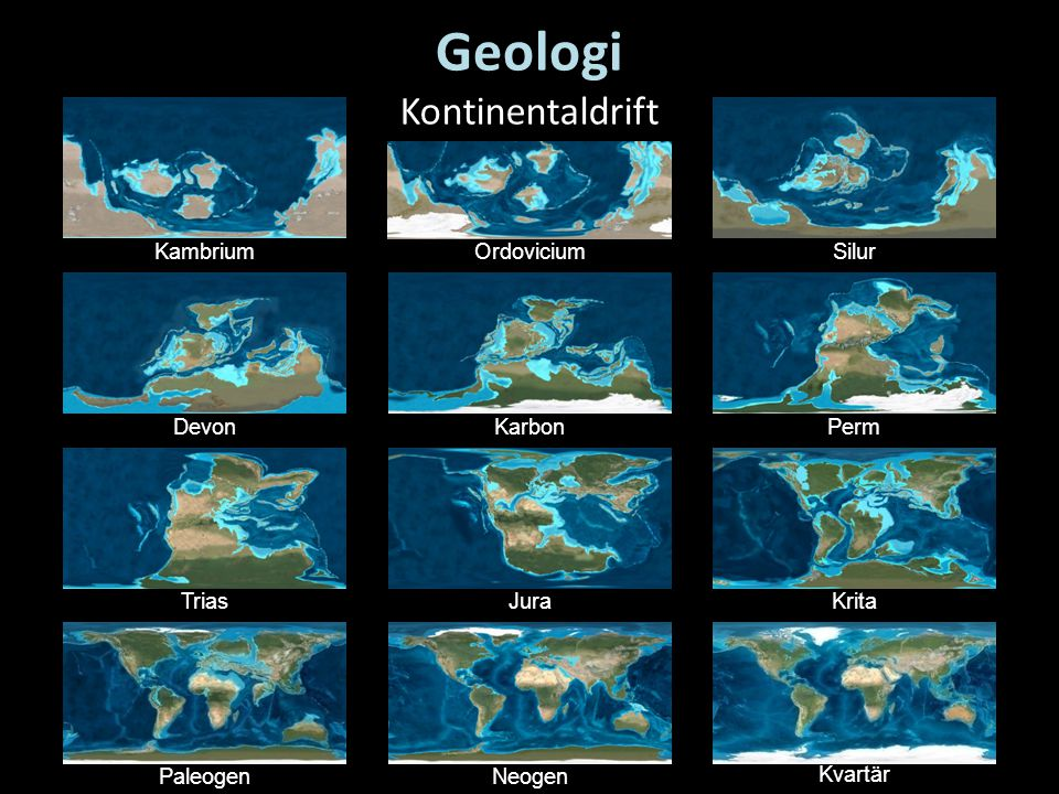 Geologi Kontinentaldrift Kambrium Ordovicium Silur Devon Karbon Perm