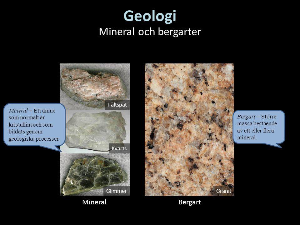 Geologi Mineral och bergarter Mineral Bergart Fältspat