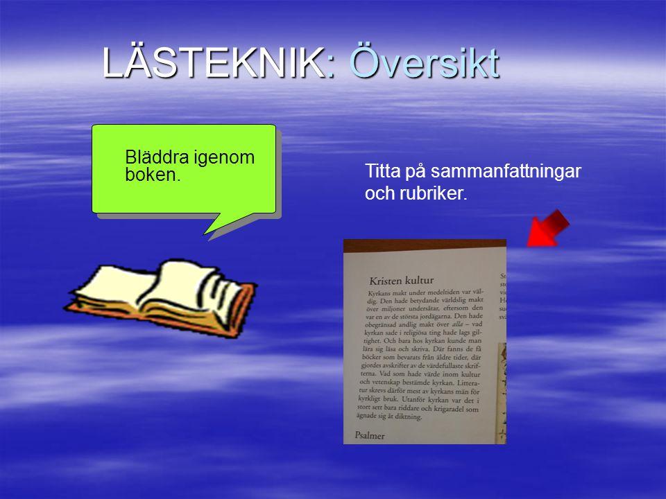 LÄSTEKNIK: Översikt Bläddra igenom boken. Titta på sammanfattningar