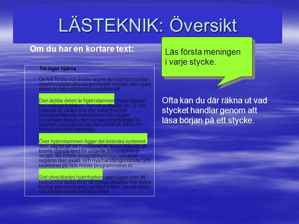 LÄSTEKNIK: Översikt Läs första meningen Om du har en kortare text: