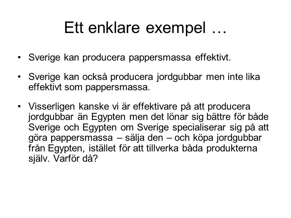 Ett enklare exempel … Sverige kan producera pappersmassa effektivt.