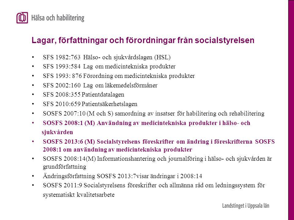 Lagar, författningar och förordningar från socialstyrelsen