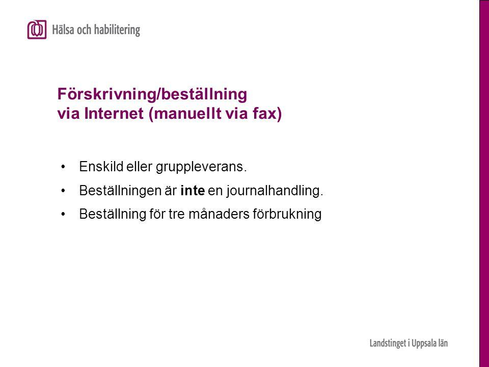 Förskrivning/beställning via Internet (manuellt via fax)