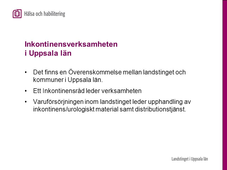 Inkontinensverksamheten i Uppsala län