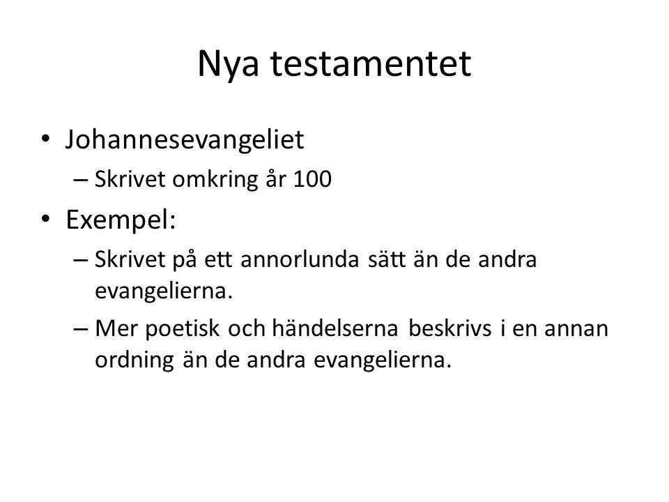 Nya testamentet Johannesevangeliet Exempel: Skrivet omkring år 100