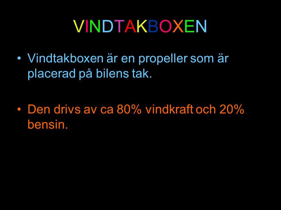 VINDTAKBOXEN Vindtakboxen är en propeller som är placerad på bilens tak.
