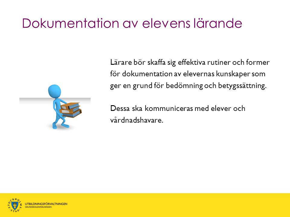 Dokumentation av elevens lärande