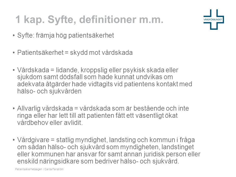 1 kap. Syfte, definitioner m.m.