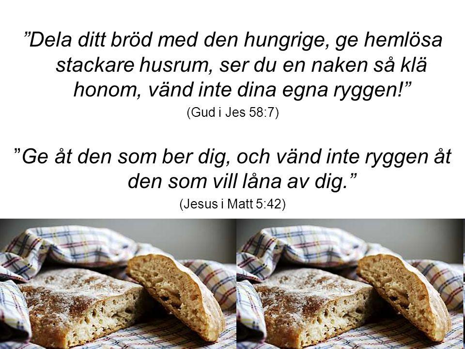 Dela ditt bröd med den hungrige, ge hemlösa stackare husrum, ser du en naken så klä honom, vänd inte dina egna ryggen!