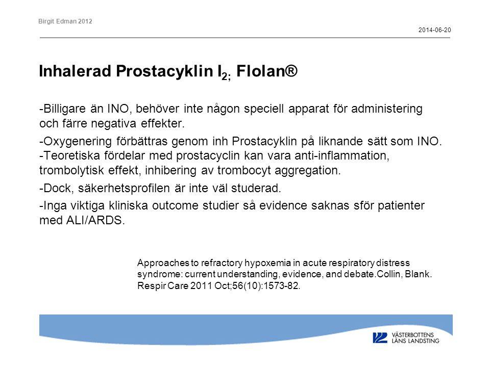 Inhalerad Prostacyklin I2; Flolan®