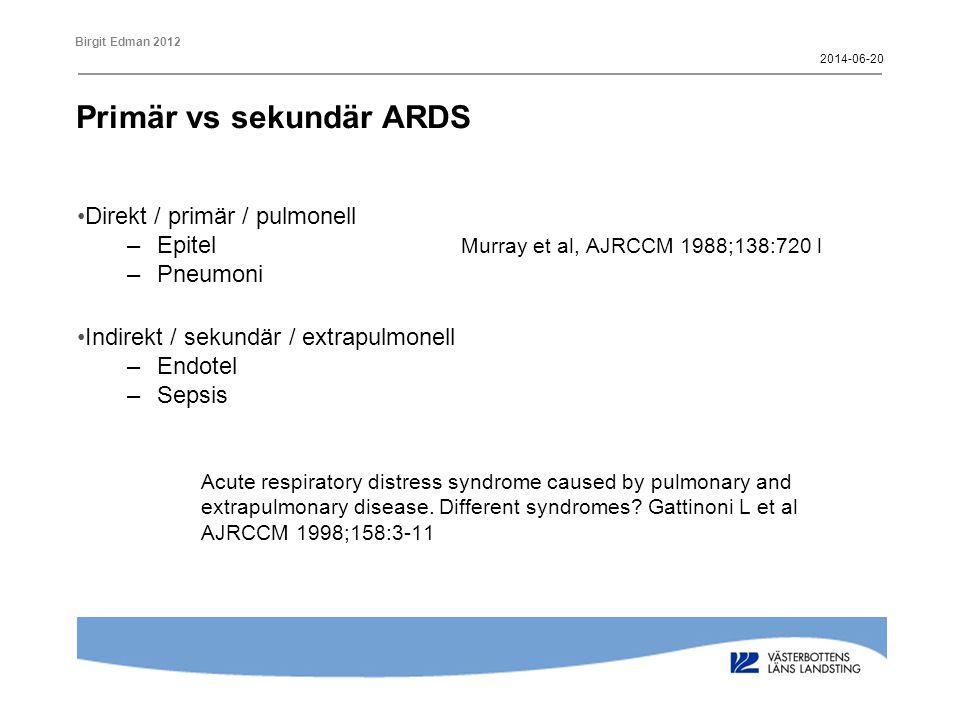 Primär vs sekundär ARDS