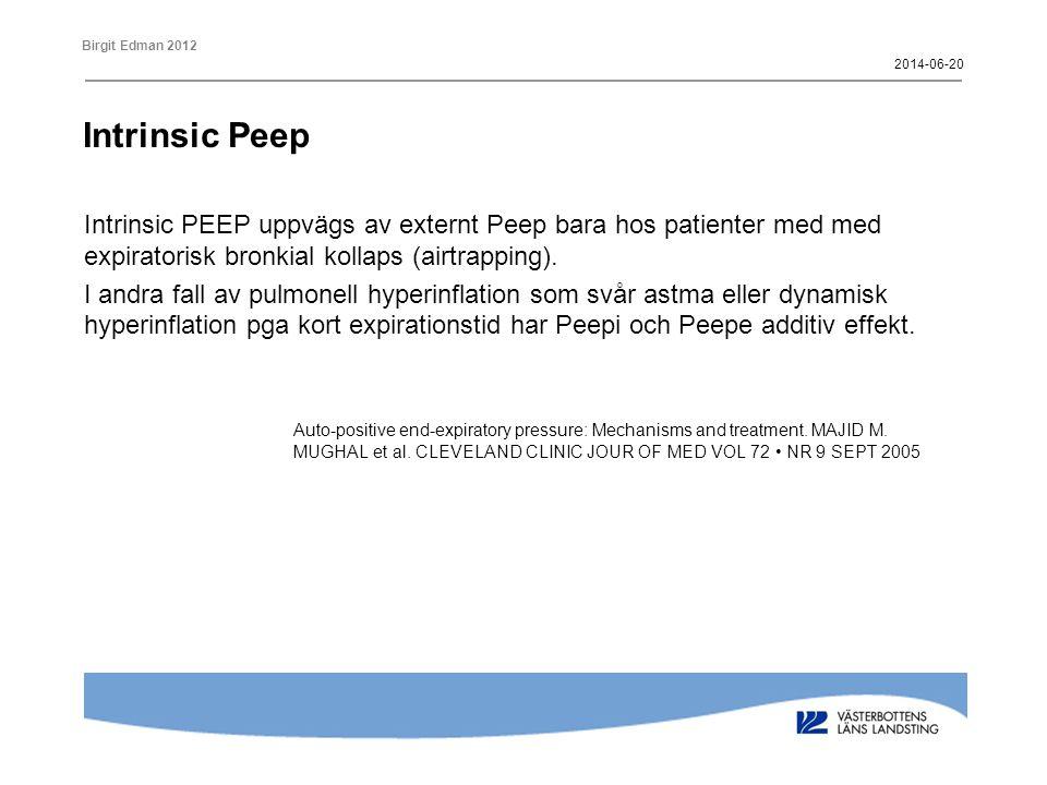 2017-04-02 Intrinsic Peep. Intrinsic PEEP uppvägs av externt Peep bara hos patienter med med expiratorisk bronkial kollaps (airtrapping).