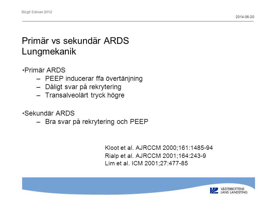 Primär vs sekundär ARDS Lungmekanik