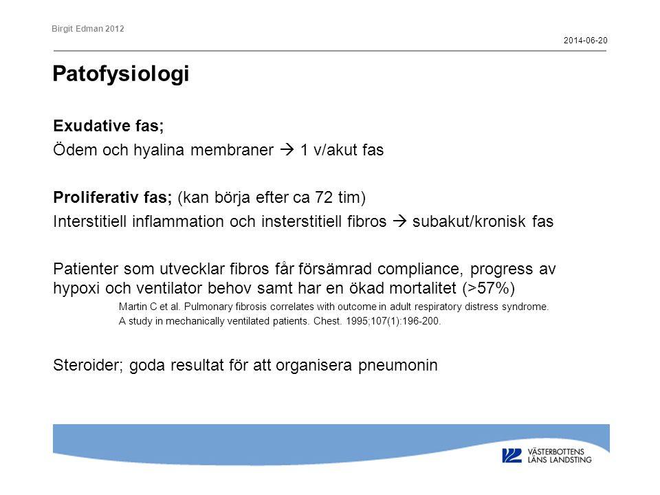 Patofysiologi Exudative fas; Ödem och hyalina membraner  1 v/akut fas