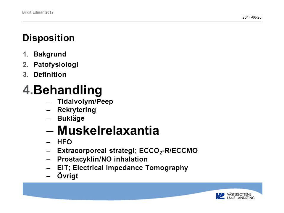 Behandling Muskelrelaxantia Disposition Bakgrund Patofysiologi