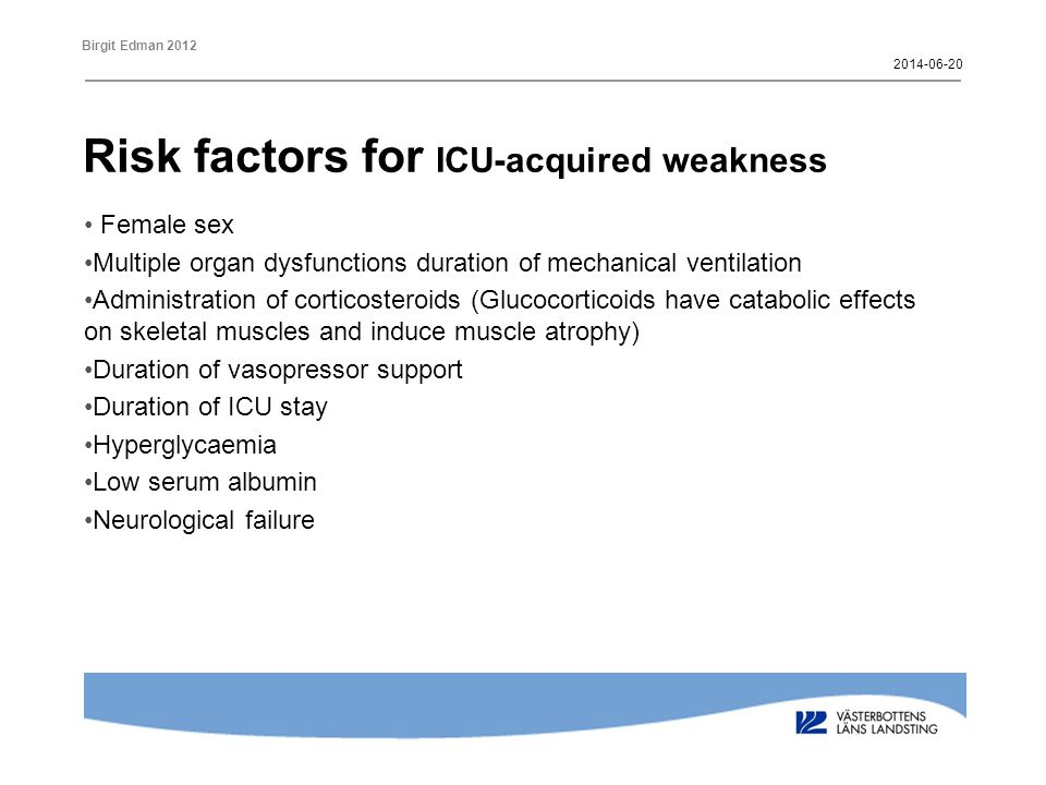 Risk factors for ICU-acquired weakness