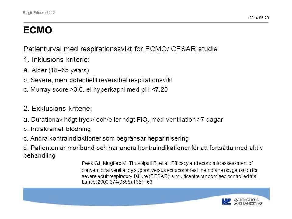 ECMO Patienturval med respirationssvikt för ECMO/ CESAR studie