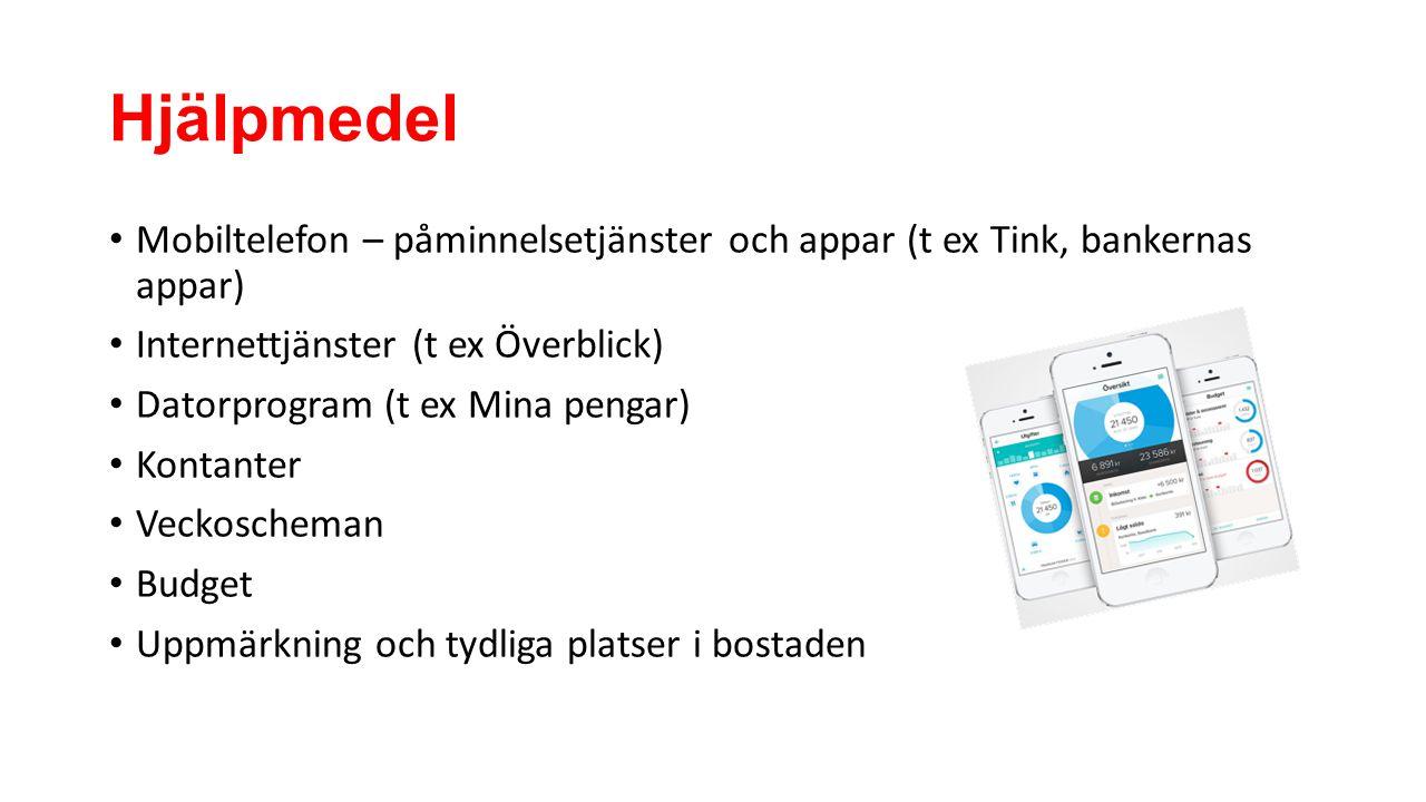 Hjälpmedel Mobiltelefon – påminnelsetjänster och appar (t ex Tink, bankernas appar) Internettjänster (t ex Överblick)