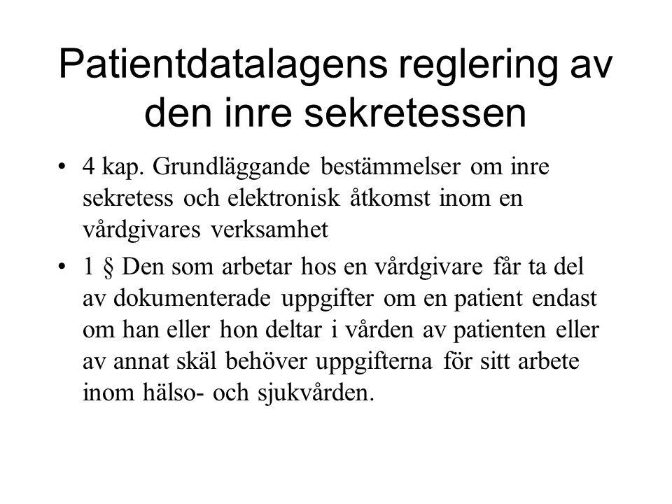Patientdatalagens reglering av den inre sekretessen