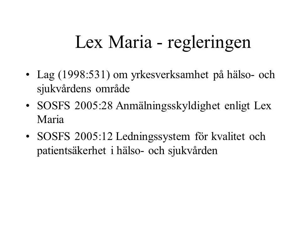 Lex Maria - regleringen