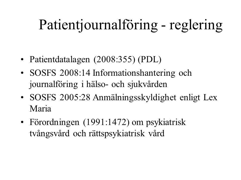 Patientjournalföring - reglering