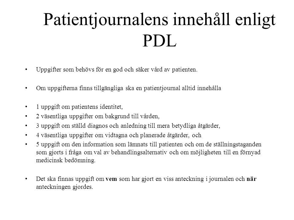 Patientjournalens innehåll enligt PDL