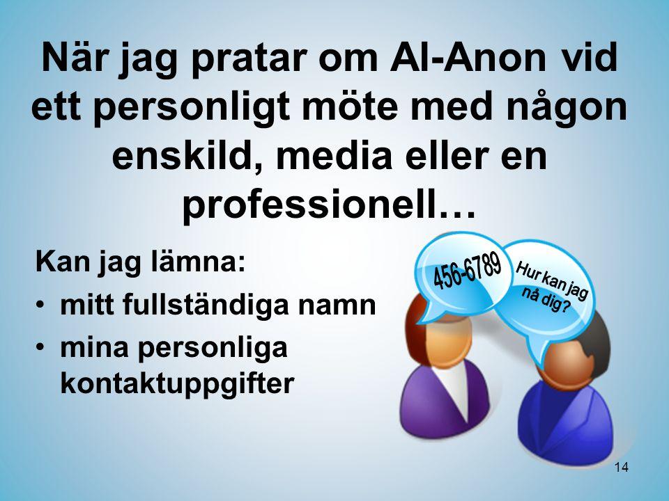 När jag pratar om Al-Anon vid ett personligt möte med någon enskild, media eller en professionell…