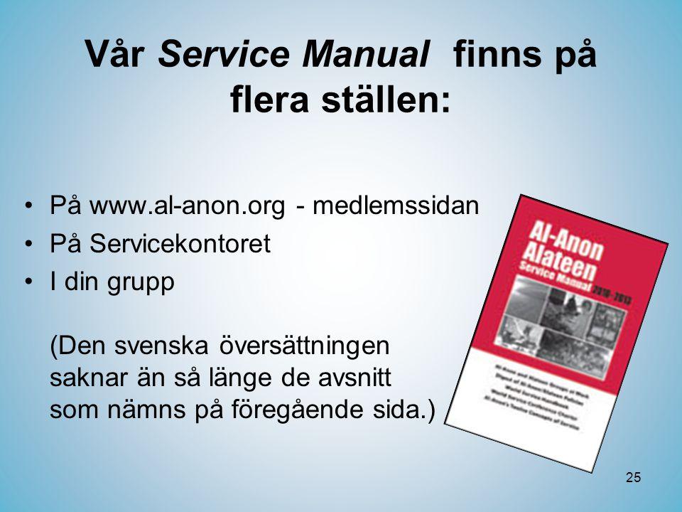 Vår Service Manual finns på flera ställen: