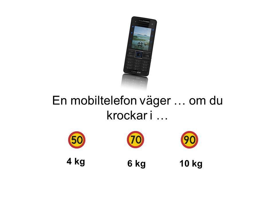 En mobiltelefon väger … om du krockar i …