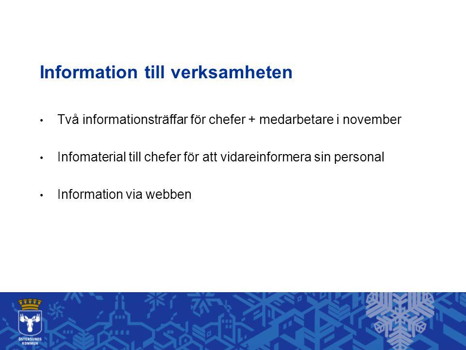 Information till verksamheten
