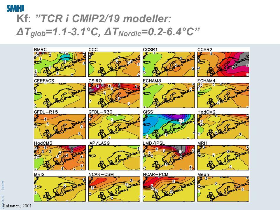 Kf: TCR i CMIP2/19 modeller: ΔTglob=1.1-3.1°C, ΔTNordic=0.2-6.4°C