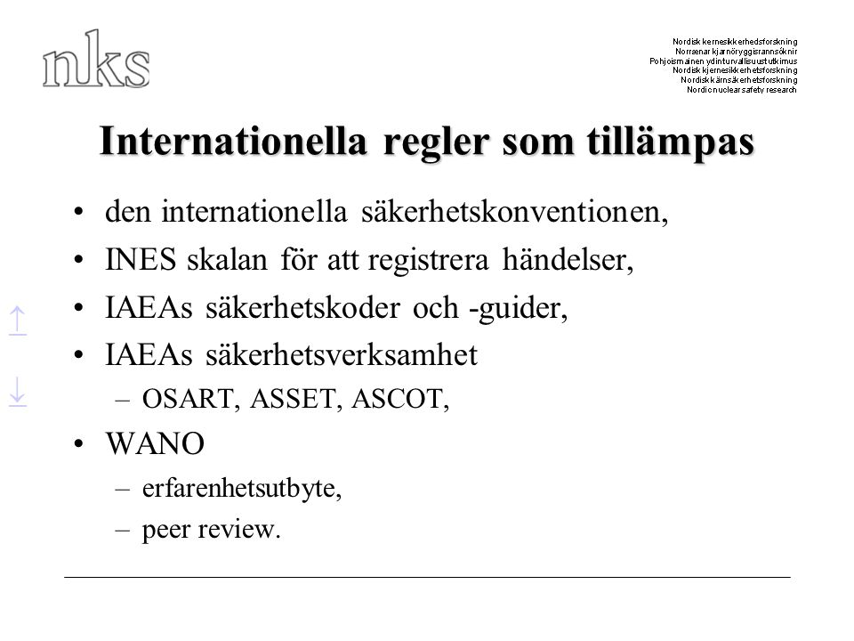 Internationella regler som tillämpas