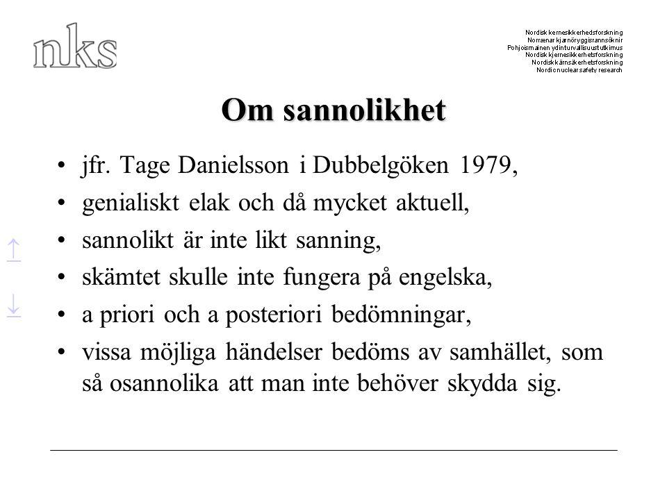Om sannolikhet jfr. Tage Danielsson i Dubbelgöken 1979,