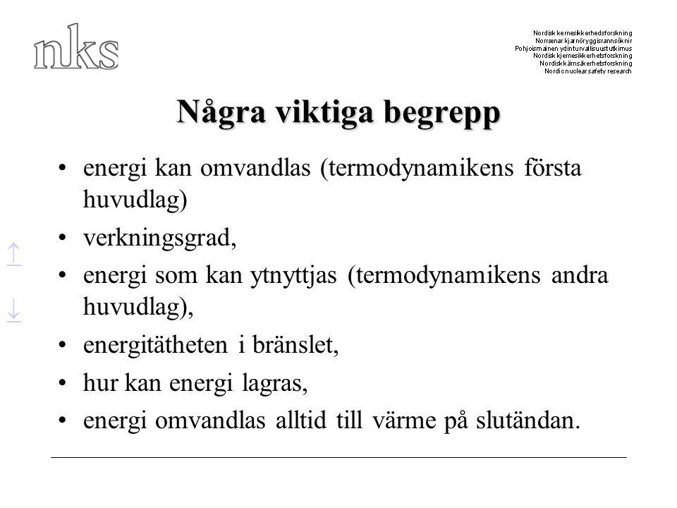 Några viktiga begrepp energi kan omvandlas (termodynamikens första huvudlag) verkningsgrad,