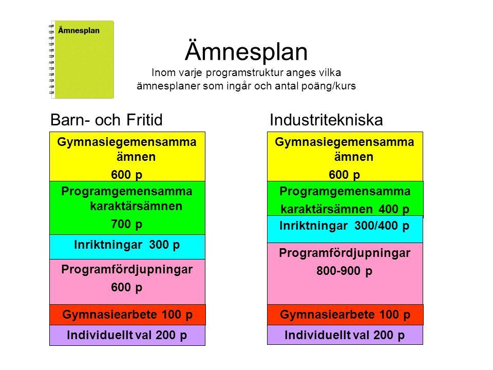 Ämnesplan Inom varje programstruktur anges vilka ämnesplaner som ingår och antal poäng/kurs