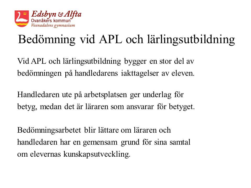 Bedömning vid APL och lärlingsutbildning