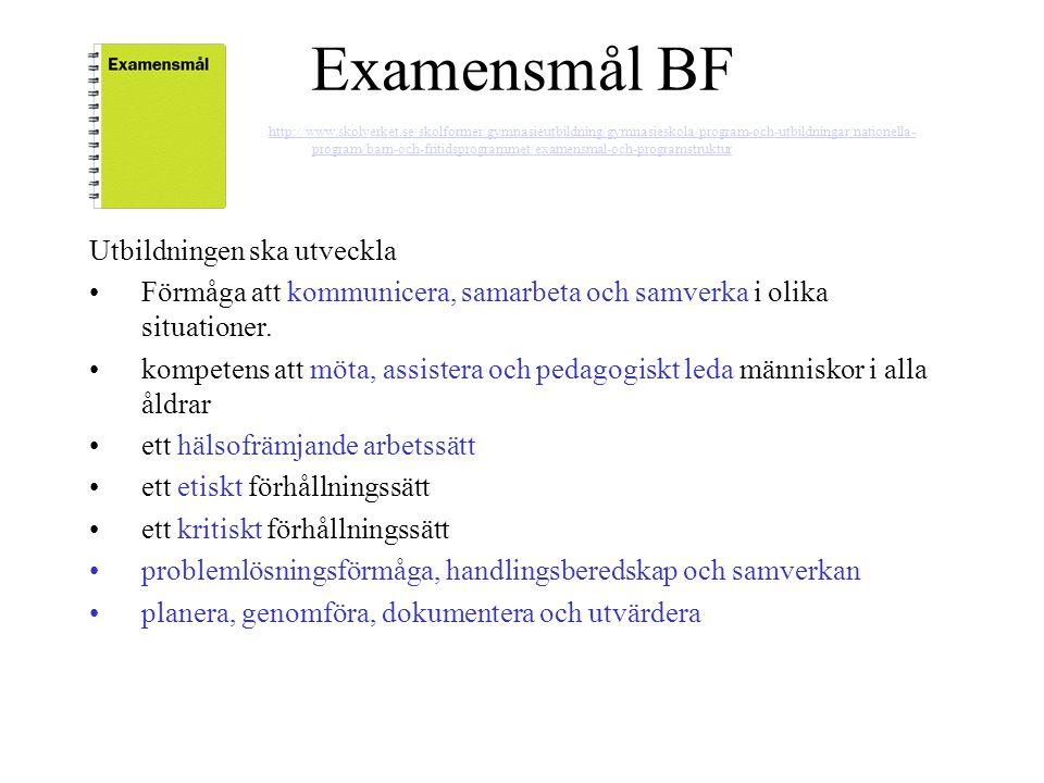 Examensmål BF Utbildningen ska utveckla