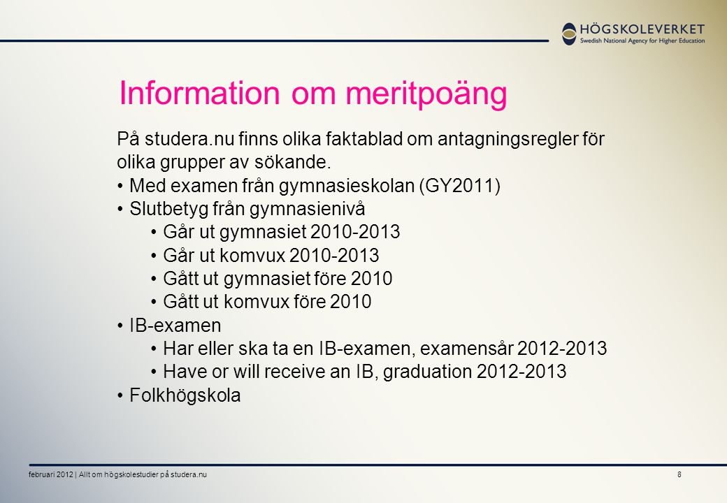 Information om meritpoäng