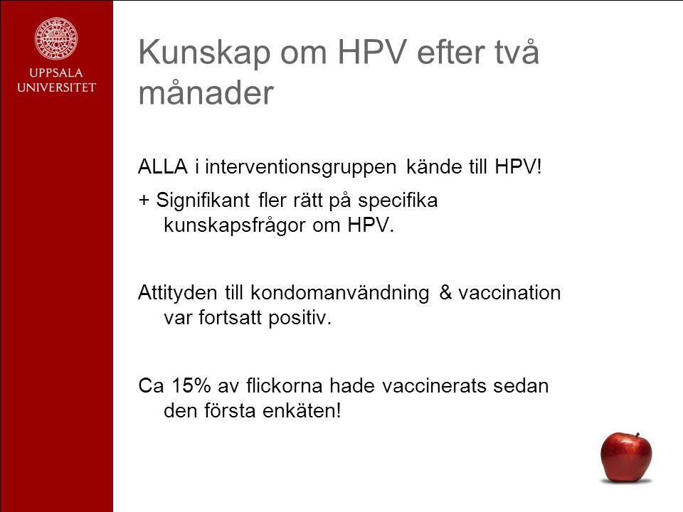 Kunskap om HPV efter två månader